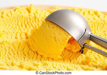 Yellow ice cream - Scoop of yellow ice cream