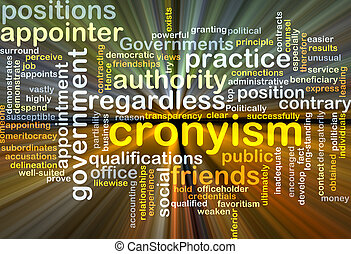 Cronyism background concept glowing - Background concept...