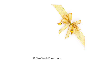 Blank paper and gold ribbon