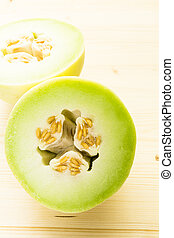 Honeydew - Organic honeydew melon sliced on white wood...