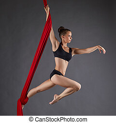 Image of beautiful dance performer on aerial silks - Studio...