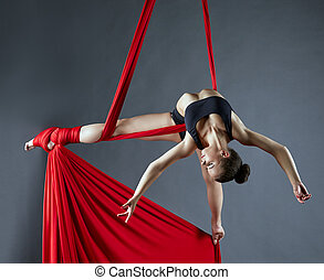 Elegant female dance posing on aerial silks - Image of...