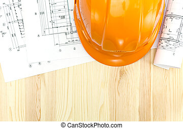 floor plan blueprints with safety helmet - safety helmet...