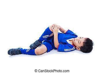 Youth asian soccer player with pain in knee joint. Full...