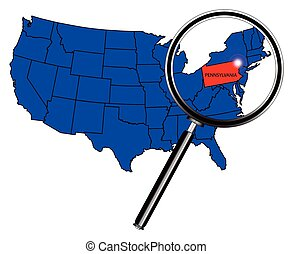 Pennsylvania state outline set into a map of The United...