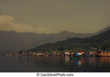 Houseboats on the lake in Srinagar