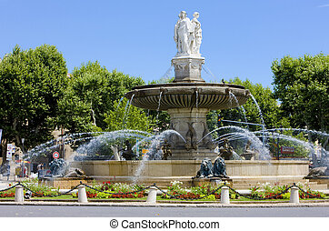 fountain at La Rotonde, Aix-en-Provence, Provence, France