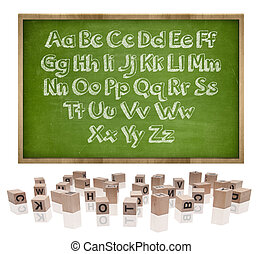 Alphabets concept on blackboard with wooden frame and block letters
