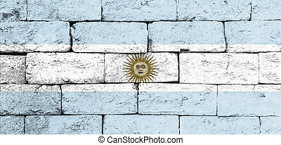 Flag of Argentina on old brick wall.