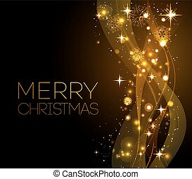 Merry Christmas gold greeting  card with snowflakes