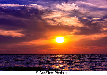 Scenic view of beautiful sunset above the sea - view of...