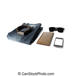man accessories isolated on white background