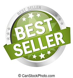 Button with Banner Best Seller - round colored button with...