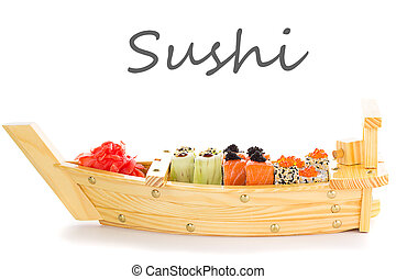 Japanese tasty sushi set on a wooden ship.
