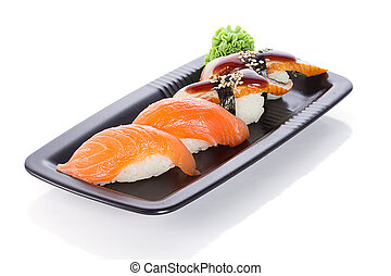 Black plate with sushi nigiri isolated