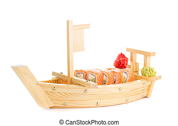 Japanese tasty sushi set on a wooden ship
