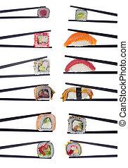 muitos,  sushi, isolado,  chopsticks, fundo, branca, rolos