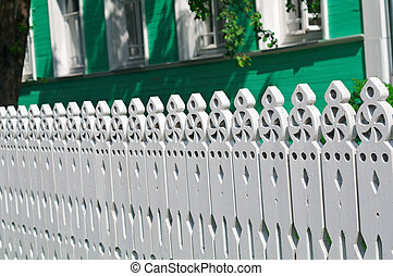 carved palisade Vologda city, Russia