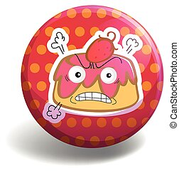 Custard - Angry custard on polka dot badge