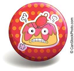 Custard - Angry custard on polka dot badge