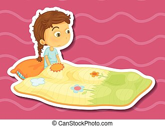 Sticker of a girl sitting in a blanket with a sad expression