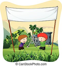 Role play - Poster of two boys do ing role play with swords