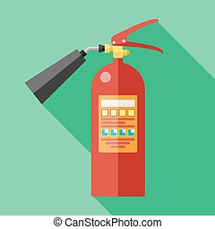 flat fire extinguisher - Vector flat fire extinguisher icon...