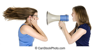 to loud - girl shouting into a megaphone to another girls...