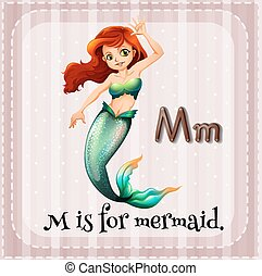 Mermaid - Flashcard letter M is for mermaid