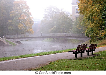 Autumn misty morning in city park