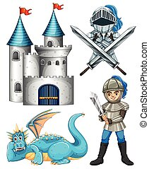 Knight and dragon - Set of fairytales with knight and dragon