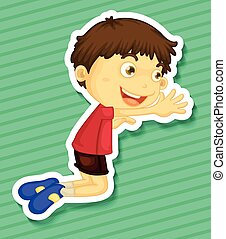Sticker of a boy kneeling on the trying to reach out for...