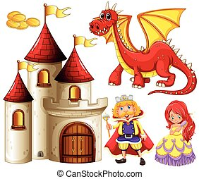 Fairytales - Set of fairytales with dragon and castle