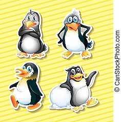 Stickers - Set of four panguin stickers on yellow background