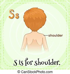 Shoulder - Flashcard letter S is for shoulder