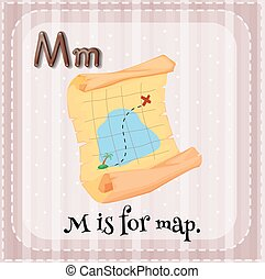 Letter M - Flashcard letter M is for map