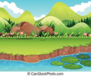 River bank - River scene with lawn and mountains