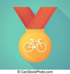 Long shadow gold medal with a bicycle