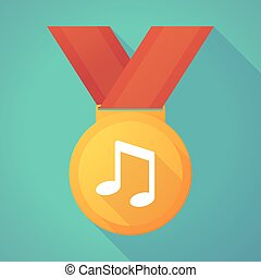 Long shadow gold medal with a note music