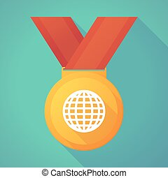 Long shadow gold medal with a world globe