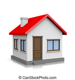 House 3D Illustration - White 3D House with Red Roof on...