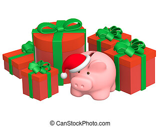 Christmas gifts and piggy bank