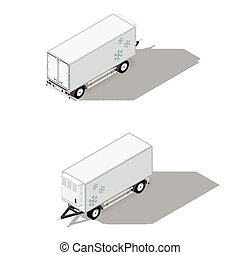 Trailer with a refrigeration chamber detailed isometric...