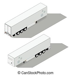 Semi-trailer with a refrigeration chamber detailed isometric...