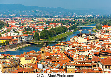 Bridges over the river Arno in Florence, Italy