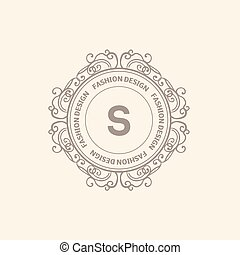 Monogram luxury logo template with flourishes calligraphic...