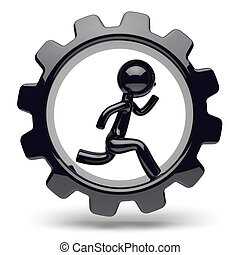 Man character running inside gearwheel business cogwheel
