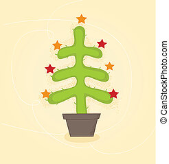 Christmas cactus tree - Retro christmas cactus tree design....