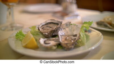 Taking shots of oysters with smart phone - Close-up shot of...