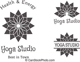 Yoga Studio Vector Logo Template Set - Yoga ornamental...